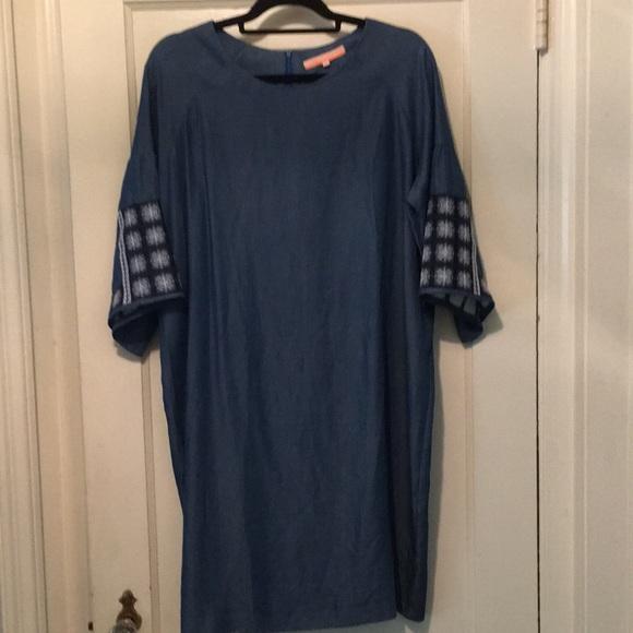 Vilagallo Dresses & Skirts - Embroidered Denim Bell Sleeve Sheath